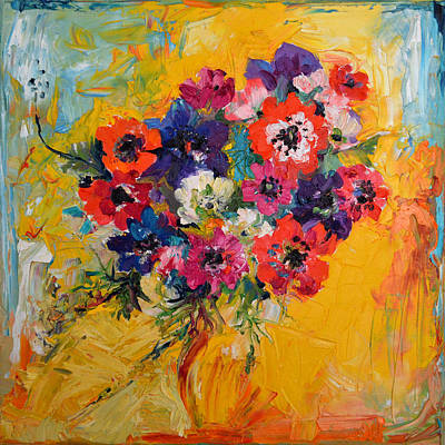 Anemones Bouquet, Floral Painitng, Flowers, Oil Painting Poster by Soos Roxana Gabriela