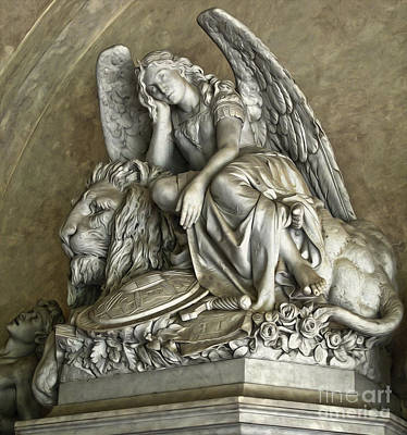 Angel And Lion Statue Poster by Gregory Dyer