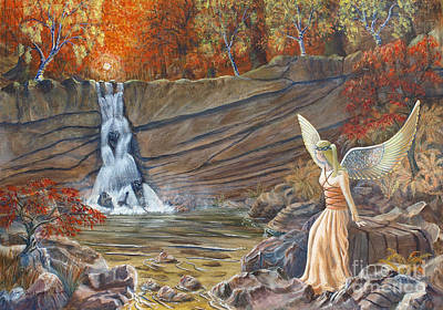 Poster featuring the painting Angel At The Waterfall by Anthony Lyon