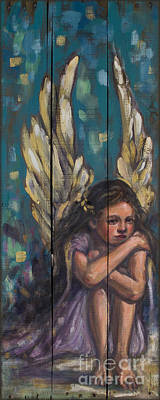 Angel Child Painting On Reclaimed Wood Poster by Kim Marshall