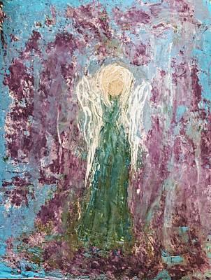 Angel Draped In Hydrangeas Poster