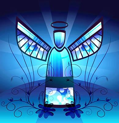 Angel Glass Poster by Georgiana Romanovna