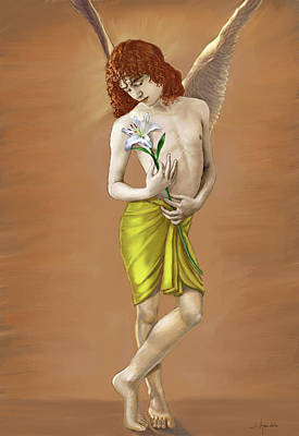 Angel Holding A Lily Poster by Dominique Amendola