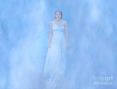 Angel In White On Blue Poster