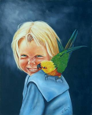 Poster featuring the painting Angel On My Shoulder by Joni McPherson