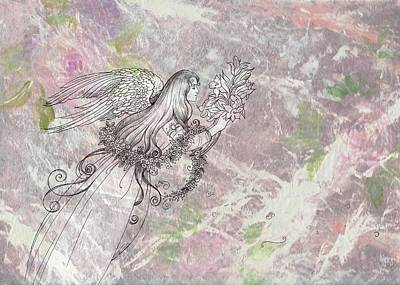 Angel On Pink And Green Florals Poster