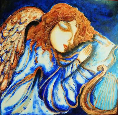 Poster featuring the greeting card Angel Sleeping by Rae Chichilnitsky