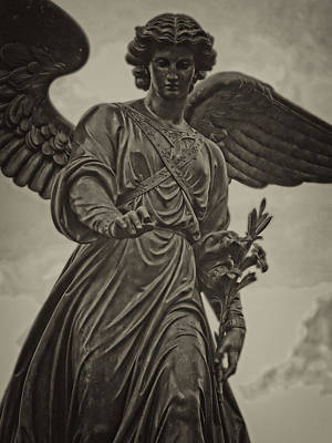 Angel Statue Bethesda Fountain Central Park Poster by Robert Ullmann