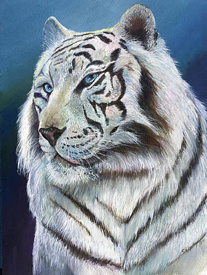 Poster featuring the painting Angel The White Tiger by Sherry Shipley