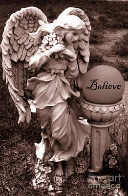 Angel Inspirational Words Believe  Poster by Kathy Fornal