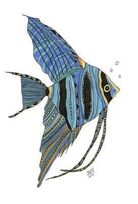 Angelfish Blue Poster by Barbara McConoughey