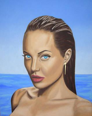 Angelina Jolie Portrait Painting   Poster