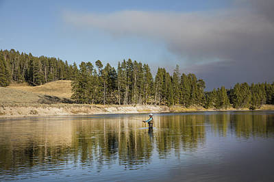Angler Amidst Gorgeous Surroundings And A Calm River In The Yellowstone In Wyoming Poster