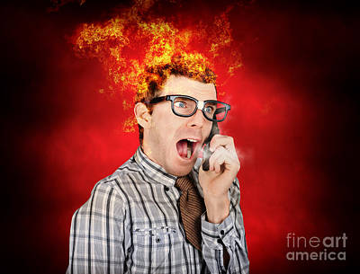 Angry Business Man Engulfed In Flames Poster