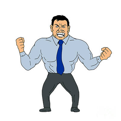 Angry Businessman Cartoon Poster
