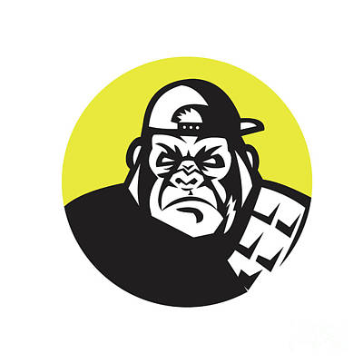 Angry Gorilla Head Baseball Cap Circle Retro Poster by Aloysius Patrimonio