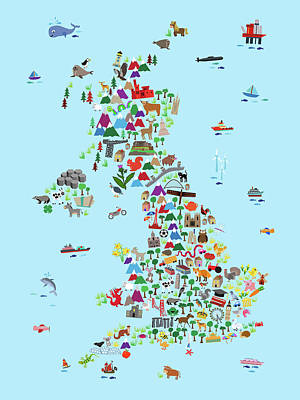 Animal Map Of Great Britain And Ni For Children And Kids Poster