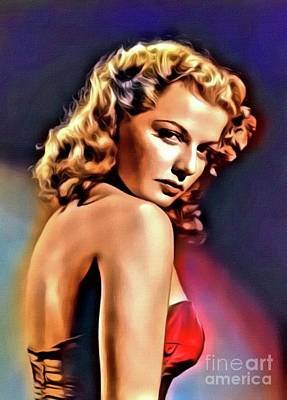 Ann Sheridan, Vintage Hollywood Actress. Digital Art By Mb Poster by Mary Bassett