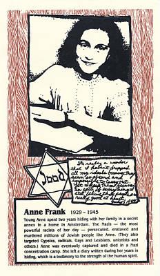 Anne Frank Poster by Ricardo Levins Morales