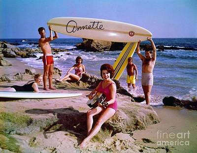Annette Funicello On The Beach Poster by The Titanic Project