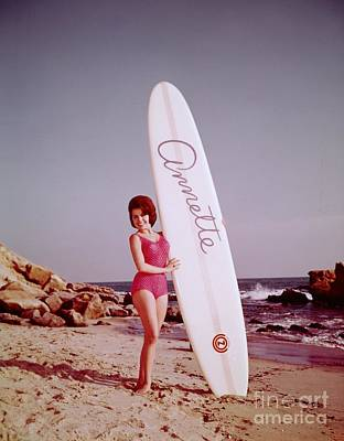 Annette Funicello With Her Surfboard Poster by The Titanic Project