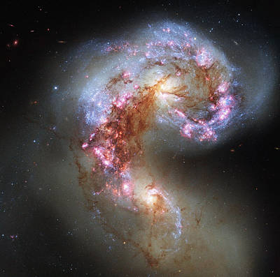 Poster featuring the photograph Antennae Galaxies Reloaded by Nasa