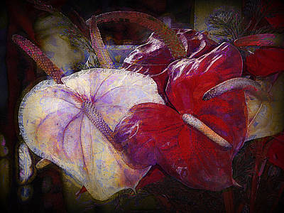 Poster featuring the photograph Anthuriums For My Valentine by Lori Seaman