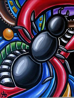Antics - Abstract Ant Painting - Chromatic Acrylic Art - Ai P. Nilson Poster