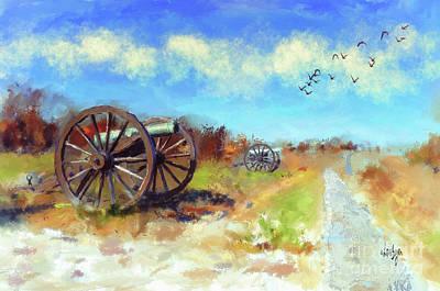 Poster featuring the digital art Antietam Under Blue Skies  by Lois Bryan
