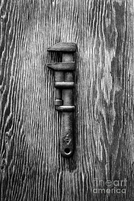 Antique Adjustable Wrench Bw Poster