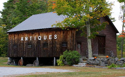 Antique Barn In Fall Poster