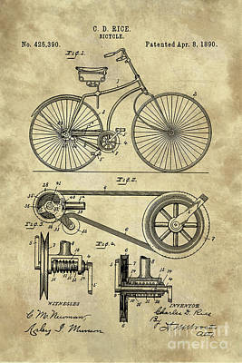 Antique Bicycle Blueprint Patent Drawing Plan, Industrial Farmhouse Poster by Tina Lavoie