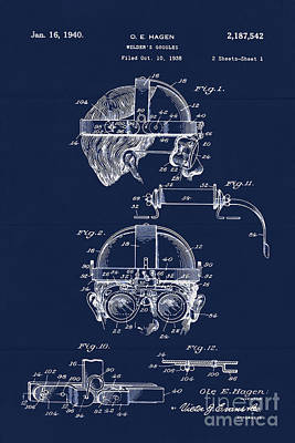 Antique Blueprint Welder's Goggles Poster by Tina Lavoie