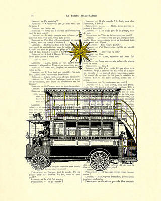 Double-decker Bus Vintage Illustration Dictioanry Art Poster by Madame Memento