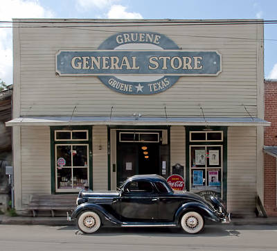 Antique Car At Gruene General Store Poster