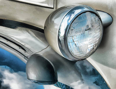 Antique Car Headlight And Reflections Poster