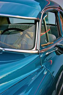 Antique Car With Neon Reflections Poster