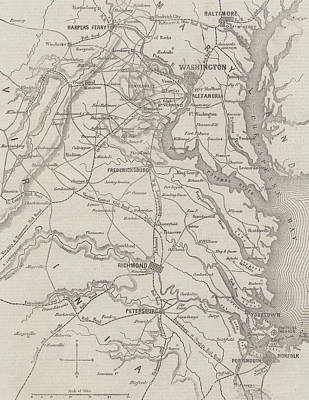 Antique Civil War Map Showing The Seat Of War In Virginia Poster by American School