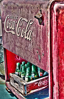 Antique Coca Cola Coke Refrigerator Poster by Robin Lewis