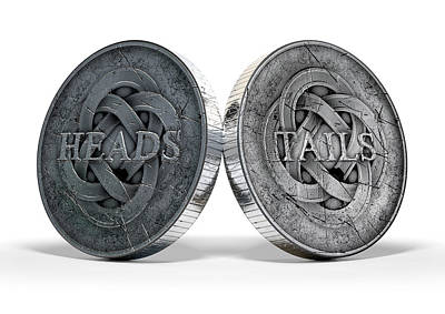 Antique Coins Heads And Tails Poster