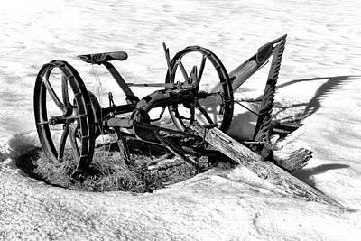 Antique Farm Machine In Winter Snow Poster