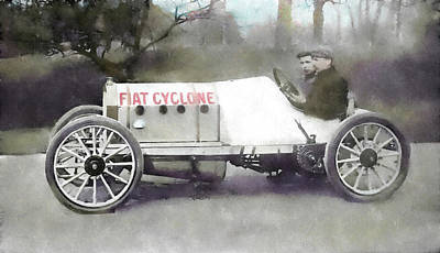 Antique Fiat Racer Poster