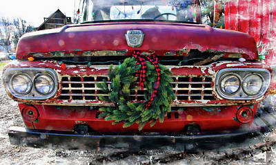 Antique Ford Christmas Poster