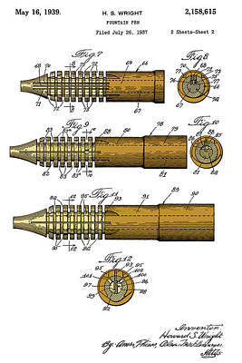 Antique Fountain Pen Patent, Year 1939, Brown And Yellow Poster