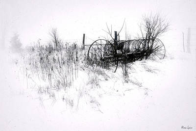 Antique Hay Rake In Snow Poster
