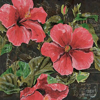 Antique Hibiscus Black 2 Poster