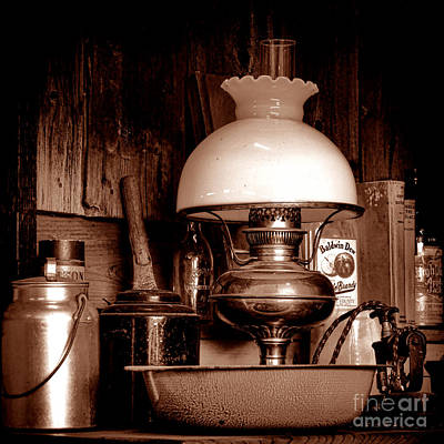 Antique Kerosene Lamp In A Kitchen Poster