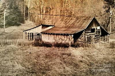 Antique Log Beam Barn Southern Indiana Poster
