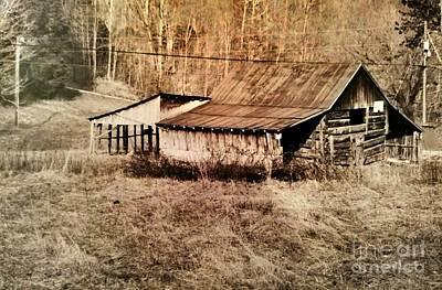 Antique Log Beam Barn Southern Indiana Poster by Scott D Van Osdol