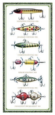Antique Lure Panel Poster